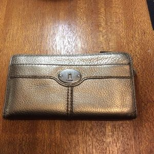 Fossil Gold Metallic Leather Maddox Zip Wallet